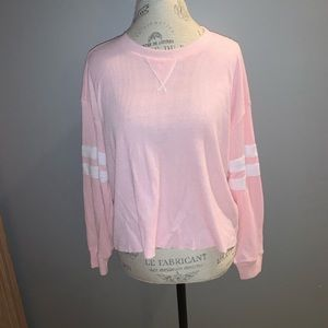 Baby Pink Waffle Long Sleeve Hollister Tee Size M